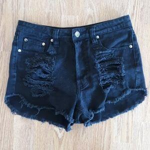 Mink Pink Black denim high waisted shorts